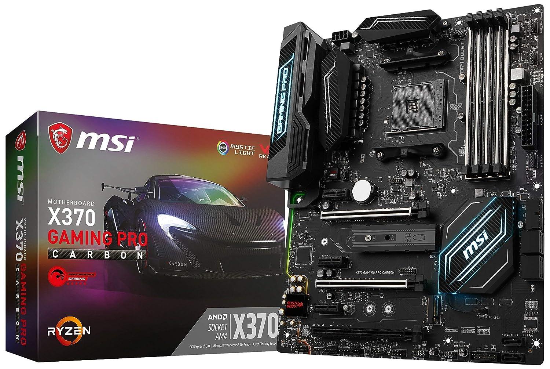 MSI Gaming AMD Ryzen X370 DDR4 VR Ready HDMI USB 3 SLI CFX ATX Motherboard (X370 GAMING PRO CARBON) (Renewed)