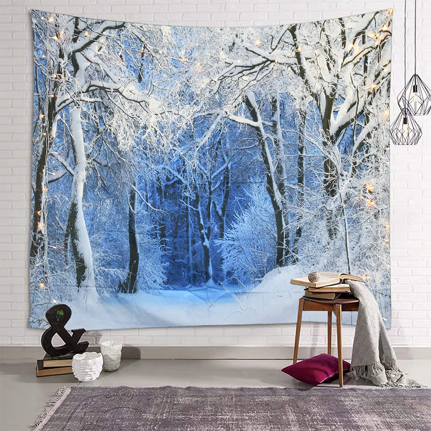 Sevendec Christmas Tapestry Wall Hanging Nature White Forest Snow Wall Tapestry for Party Livingroom Bedroom Dorm Home Decor W59