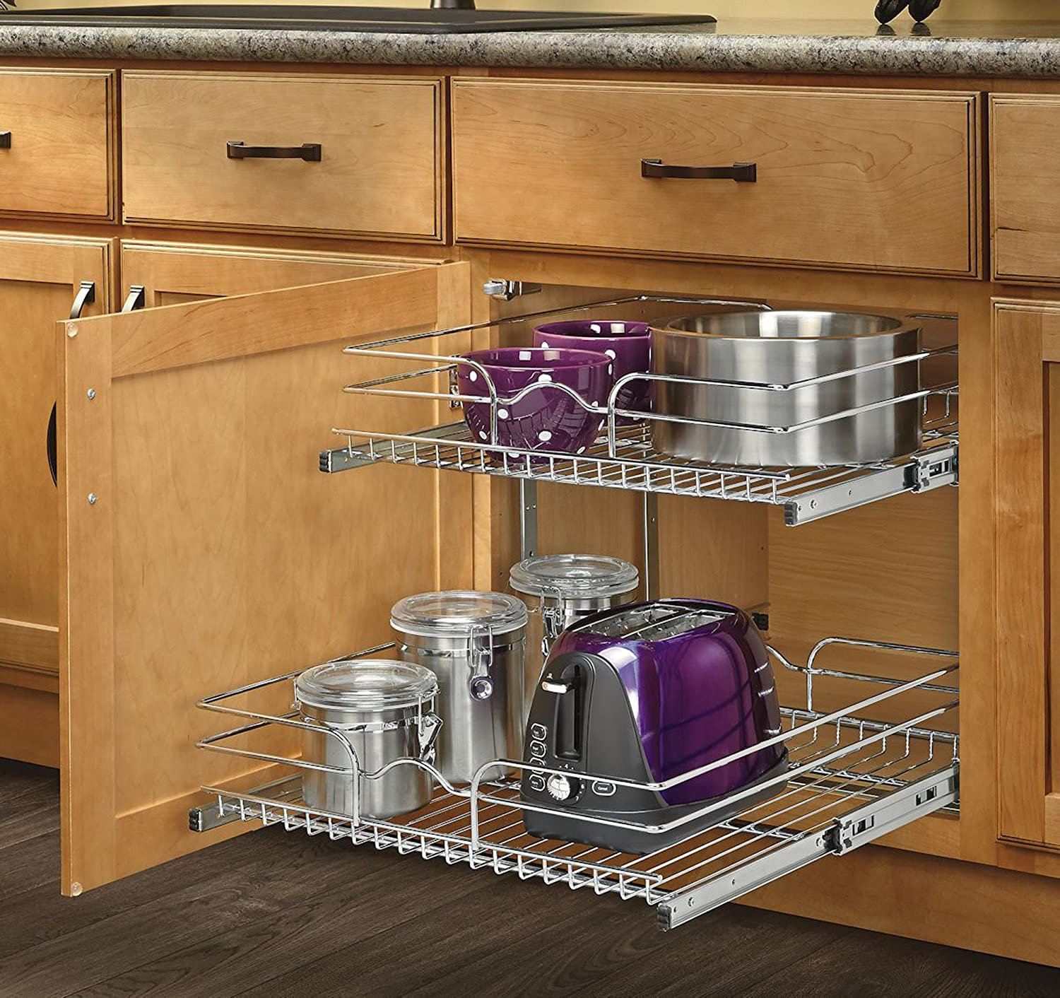 kitchen utensils storage cabinet pull out cabinet organizer pots pans utensils 2 tier wire 22115