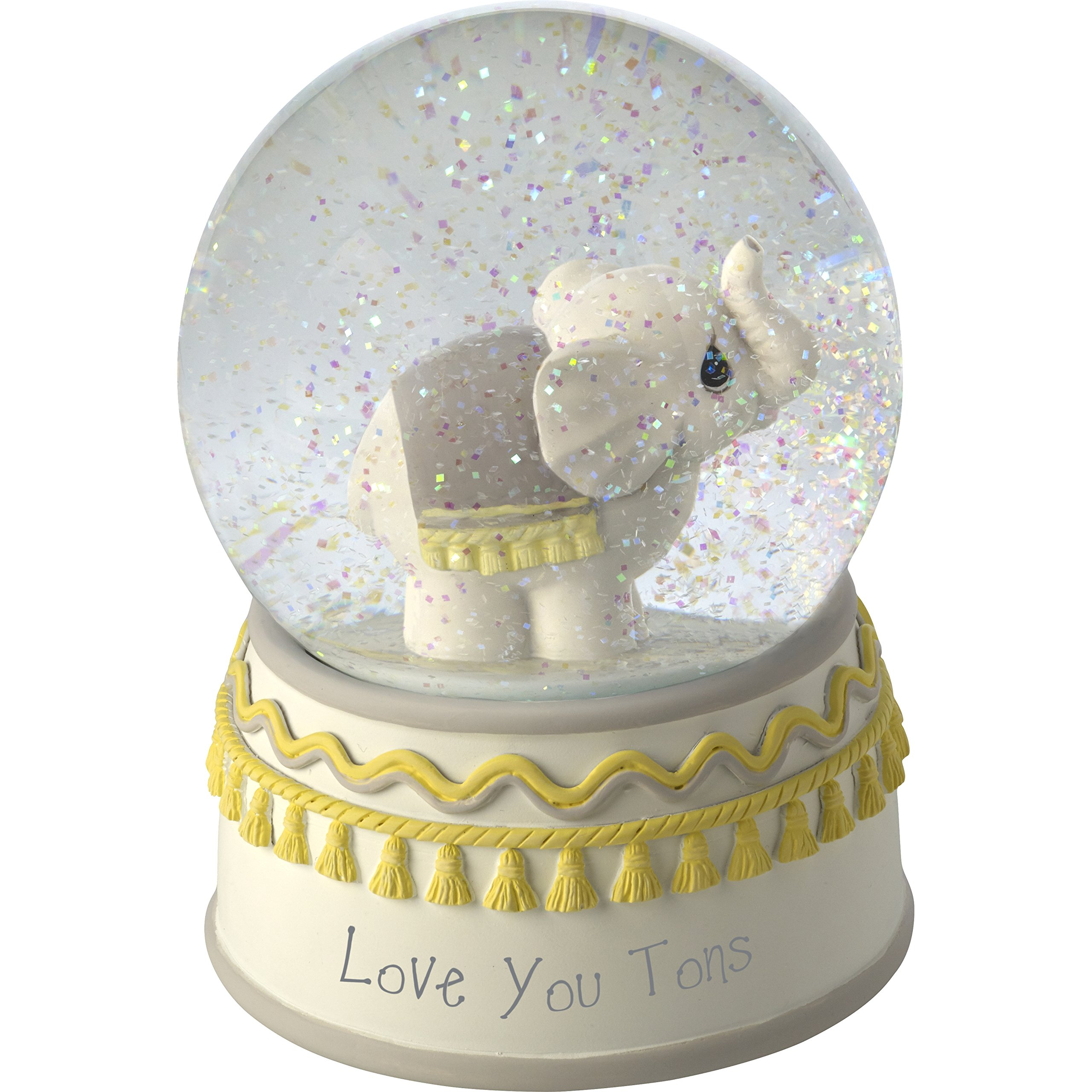 Precious Moments Resin/Glass Love You Tons Elephant Musical Snow Globe, Gray Chevron by Precious Moments
