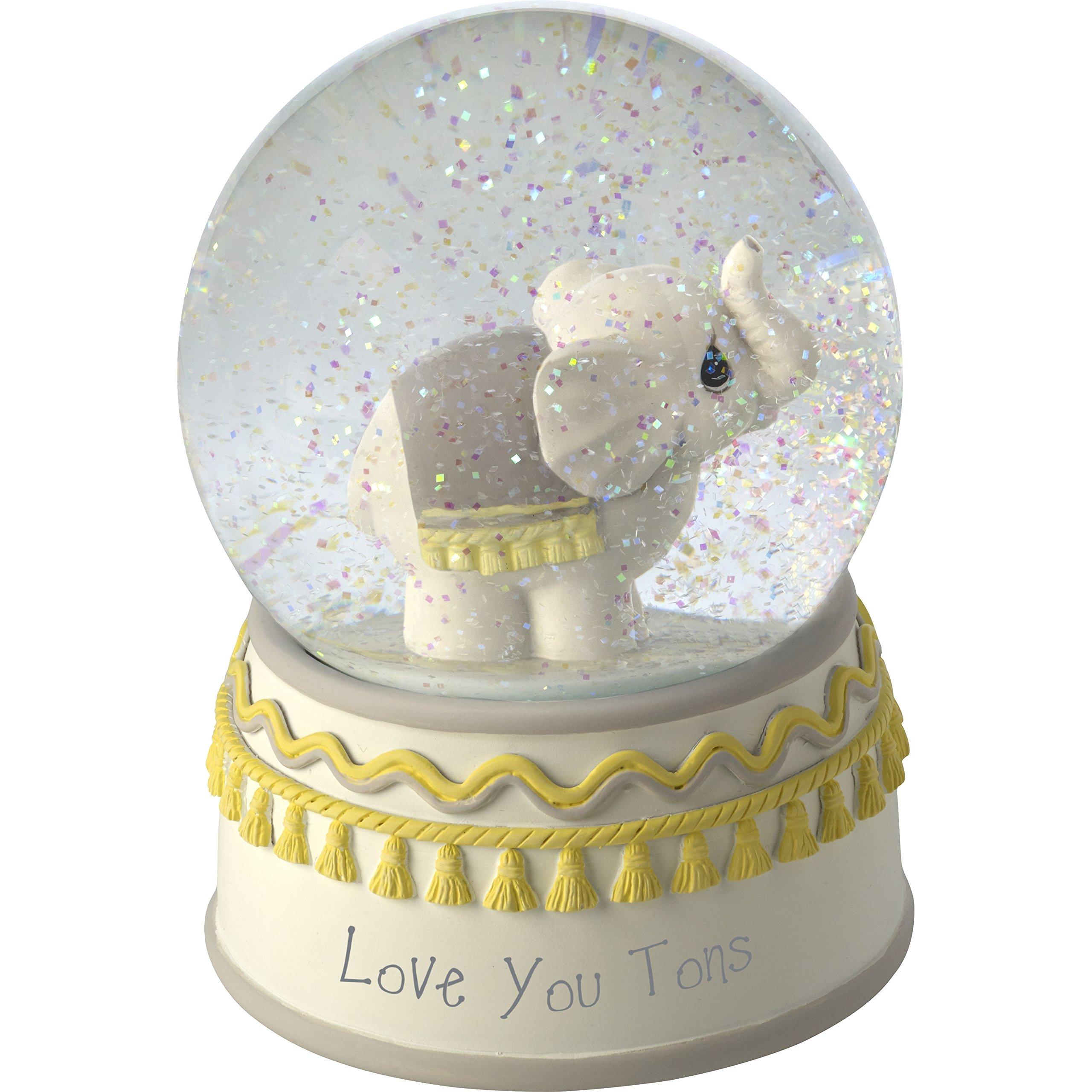 Precious Moments Love You Tons Resin/Glass Elephant Musical Snow Globe, Gray Chevron