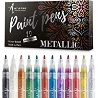 Metallic Paint Pens for Rock Painting, Stone, Ceramic, Glass, Wood, Fabric, Scrapbook Journals, Photo Albums, Card…