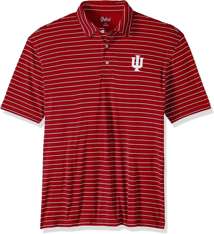 Oxford NCAA Indiana Hoosiers Mens Turner Classic Stripe Polo Shirt Small Cherrywood