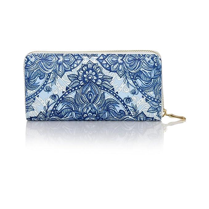 Amazon.com: Impresión de flor mandala azteca chequera wallet ...