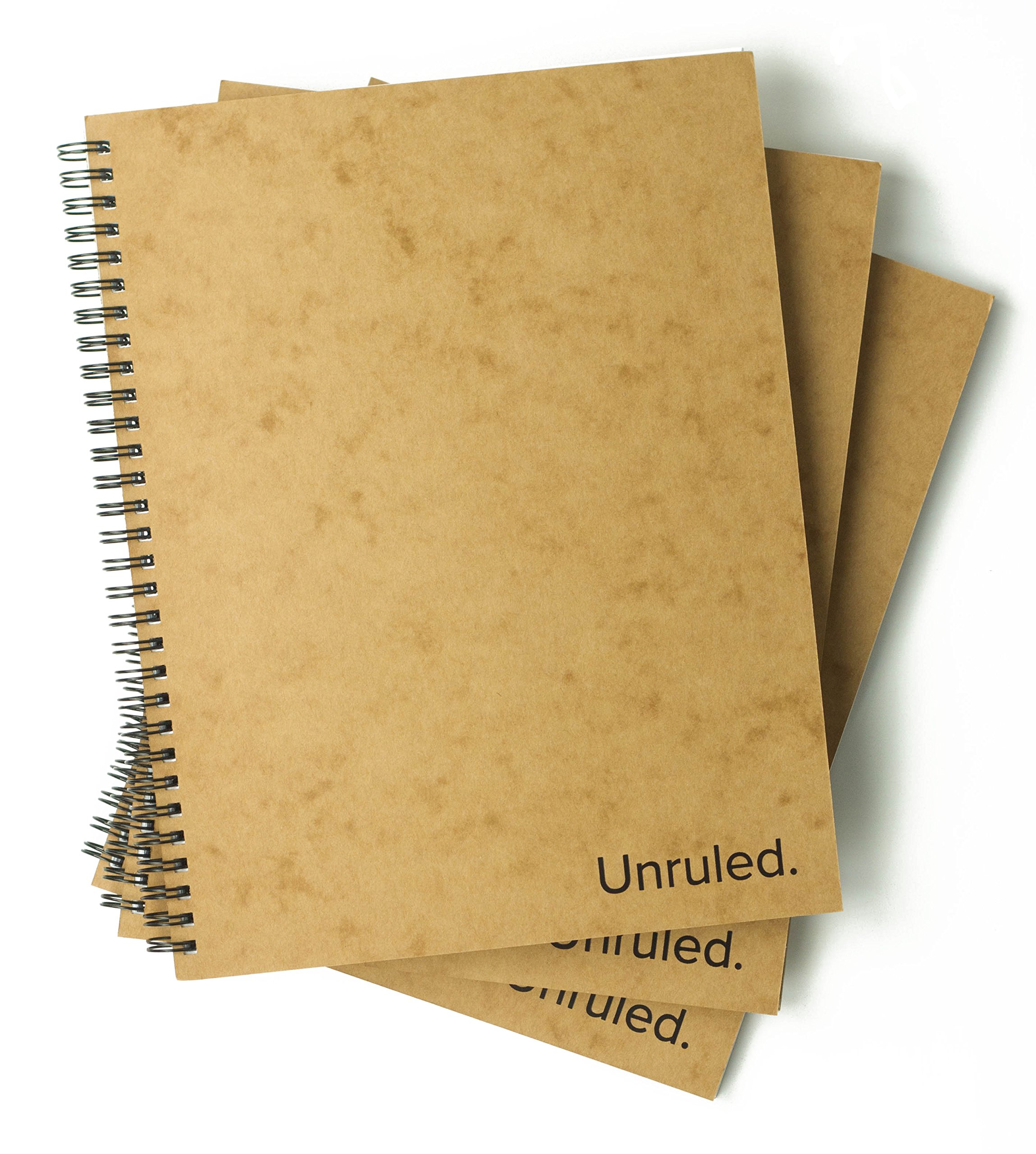Unruled Notebook (3 Pack): Environmentally sustainable, designed by college students for visual notetaking, 60 unlined perforated sheets, 8 x 10.5 inches