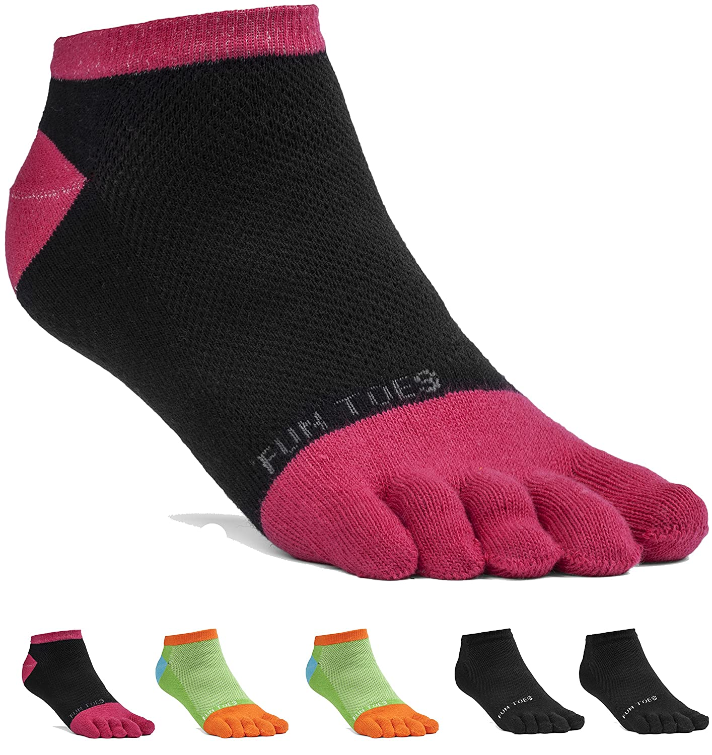 FUN TOES Womens Cotton Toe Socks-Breathable-6 PAIRS Pack-Size 9-11-Lightweight