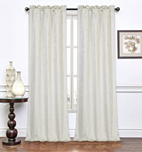 Dainty Home 96MELRPIV Melanie Rod Pocket Window Panel Pair (Set of 2) Xtra Long, Ivory, X