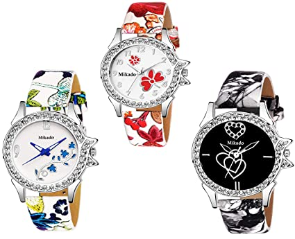 e564250ec Buy Mikado New Artistic Analogue Multicolour Dial Design Women and Girls  Watch Combo Online at Low Prices in India - Amazon.in