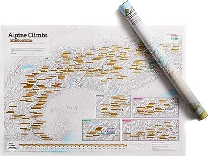 Impresión de tinta rascable de alpinismo - Maps International - Cartel regalo para aficionados al senderismo/escalada en
