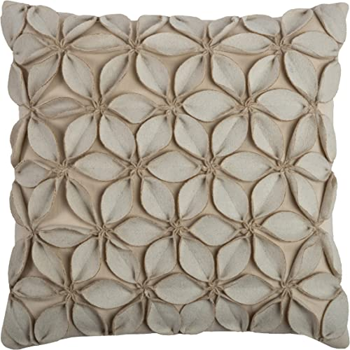 Rizzy Home T07842 Decorative Pillow, 18 X18 , Neutral White Brown