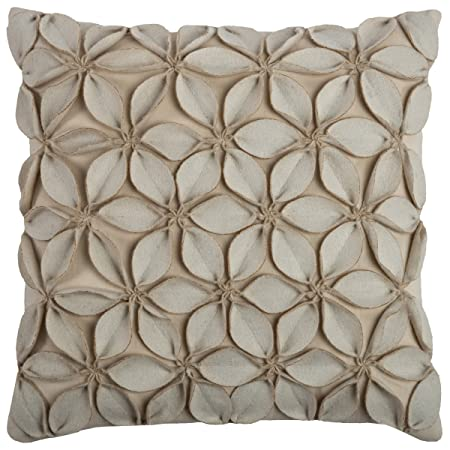 Rizzy Home T07842 Decorative Poly Filled Throw Pillow 18 x 18 Beige