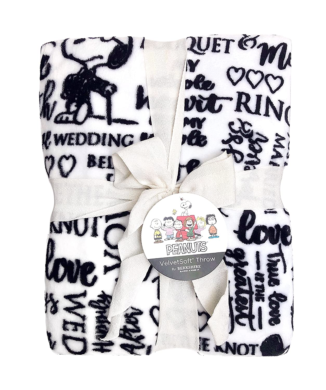 Berkshire Blanket Snoopy Wedding Words, Oversized Throw, 55