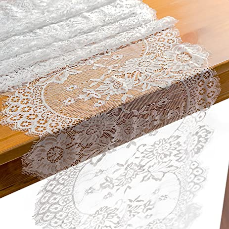 Amazon crisky 14 x 120 lace table runner lace overlay crisky 14quot x 120quot lace table runner lace overlay valentines day romantic candlelight junglespirit Gallery