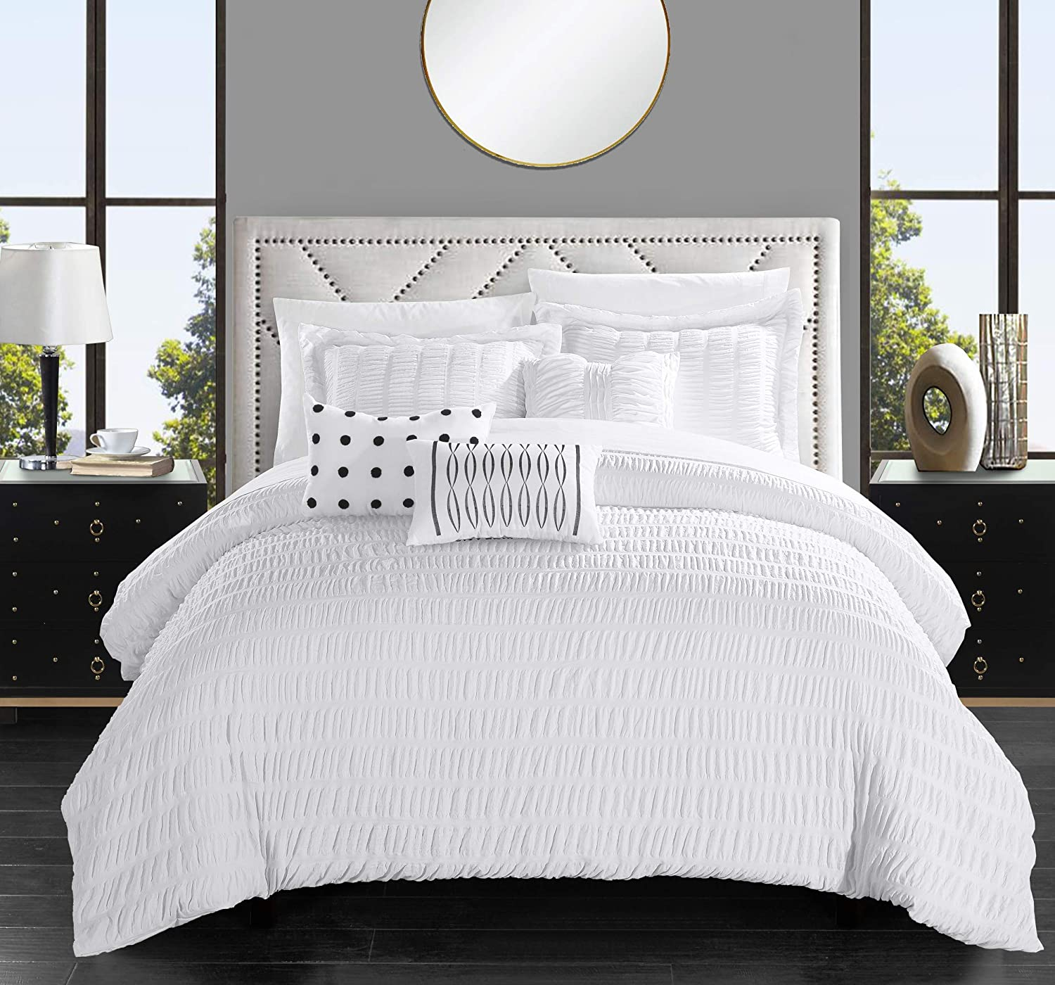 Chic Home Hadassah 6 Piece Comforter Set Striped Ruched Ruffled Bedding - Decorative Pillows Shams Included, Queen, White