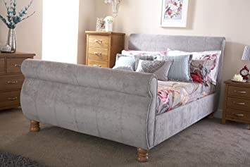 Chicago 5ft King Size Sleigh Bed - Silver Chenille  Amazon.co.uk ... 9a9bfe75be