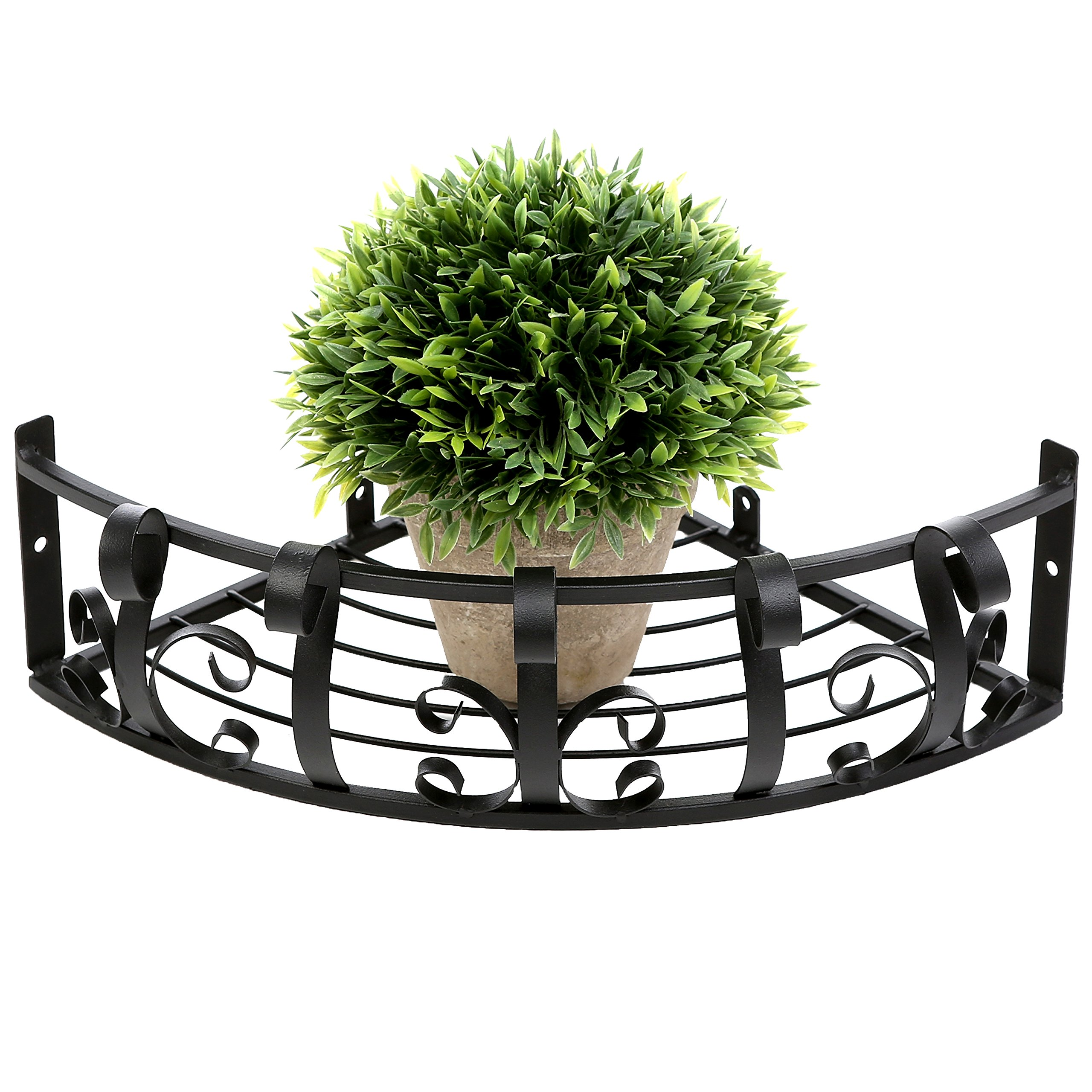 Wall Mounted Black Metal Scrollwork Design Display Floating Corner Shelf Plant Rack