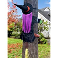 (53.5 Inch Tall) Life Size Witch Crashing Into Tree Door Column Outdoor Halloween Decoration, Funny Halloween Witch Ornaments Decor, Lightweight Reusable Halloween Hanging Decorations