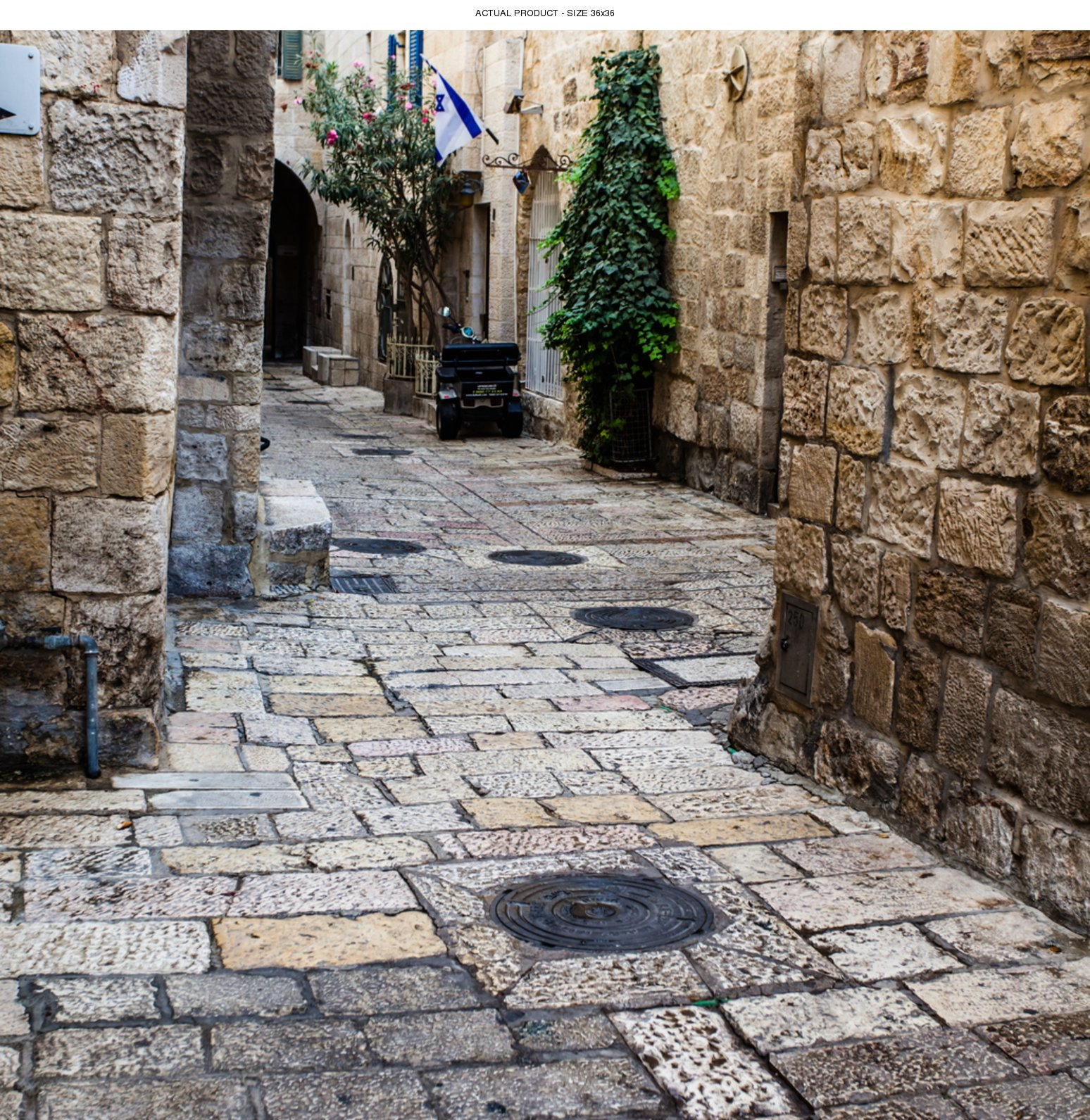 Windowpix 36x36 Inch Decorative Static Cling Window Film Jerusalem Old City Streets Printed on Clear for Window Glass Panels. UV Protection, Energy Saving.