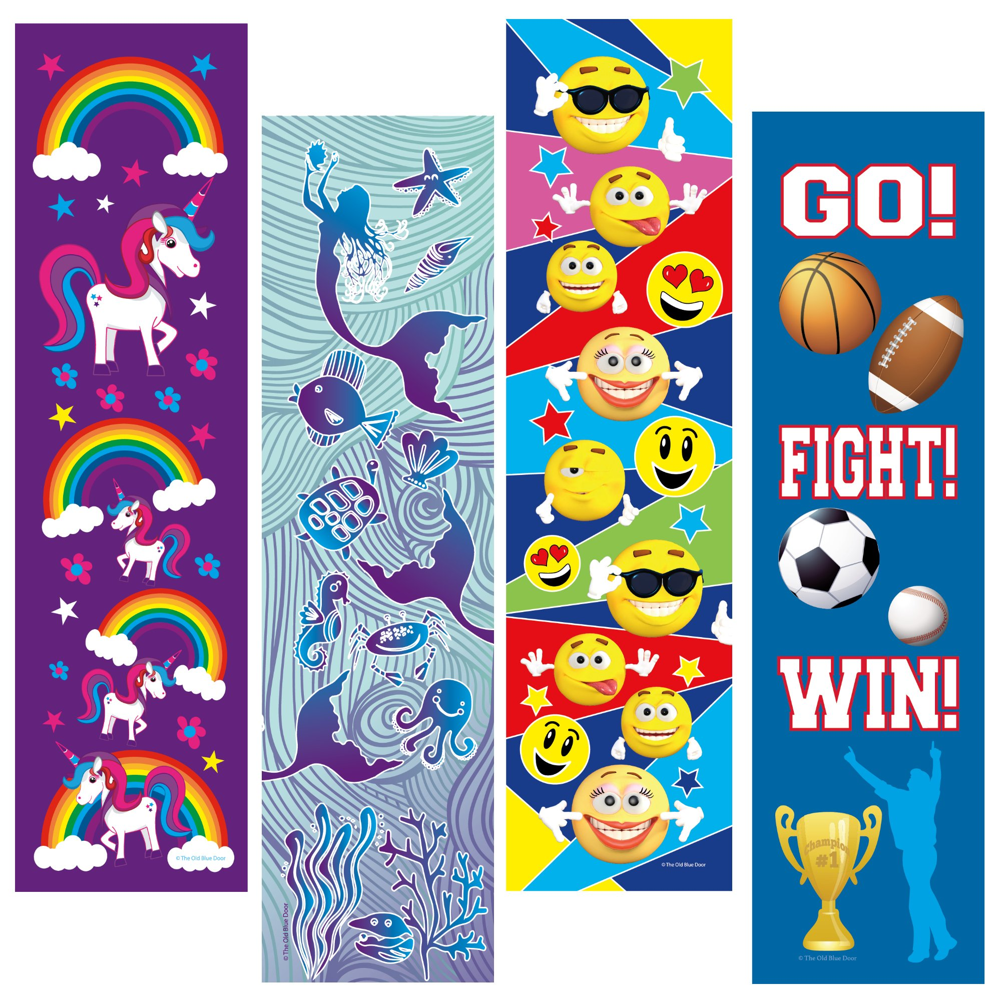 Kids Bookmarks Bulk Variety Pack - 48 Bookmarks Total (12 Mermaid, 12 Unicorn, 12 Emoticon, 12 Sports) - Birthday Party Favors - Student Prizes - Teacher Rewards - Reading Incentives - School Store