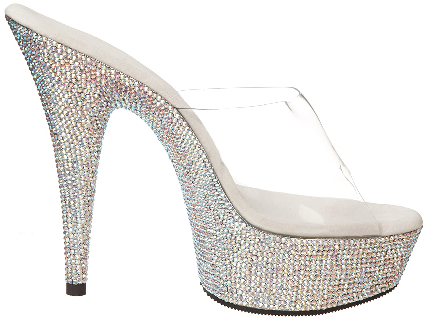 Pleaser B005W3BR5W Women's Bejeweled-601DM Platform Sandal B005W3BR5W Pleaser 10 B(M) US|Clear/Silver Multi 3f7871