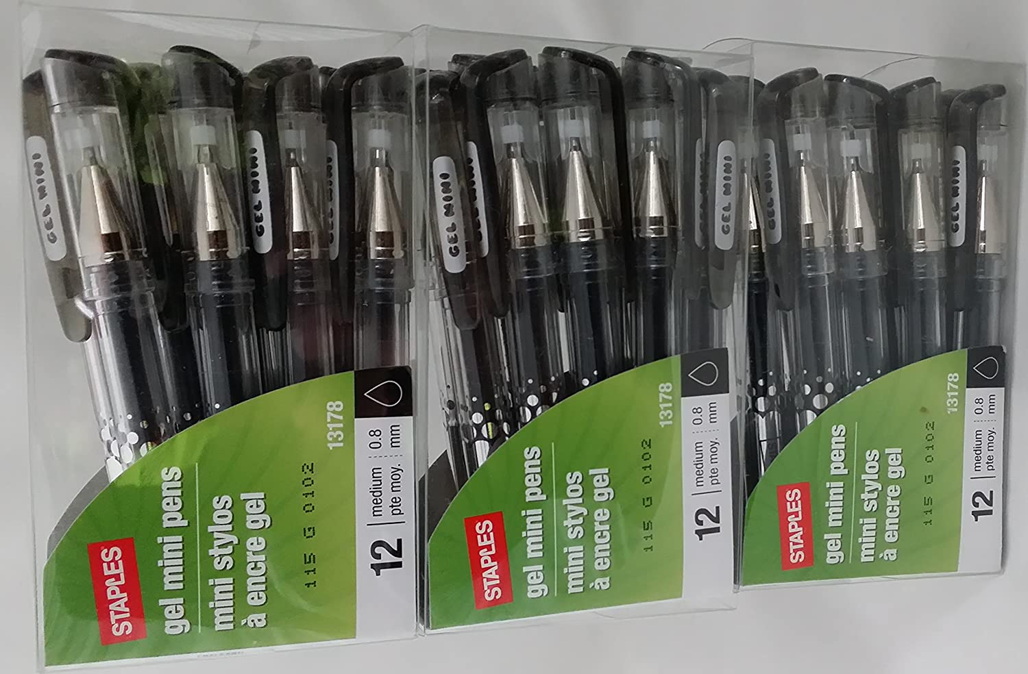 Staples Mini Gel Stick Pocket Pens Black Ink(3 Packs!) - 36 Medium Point  0.8mm: Amazon.co.uk: Office Products