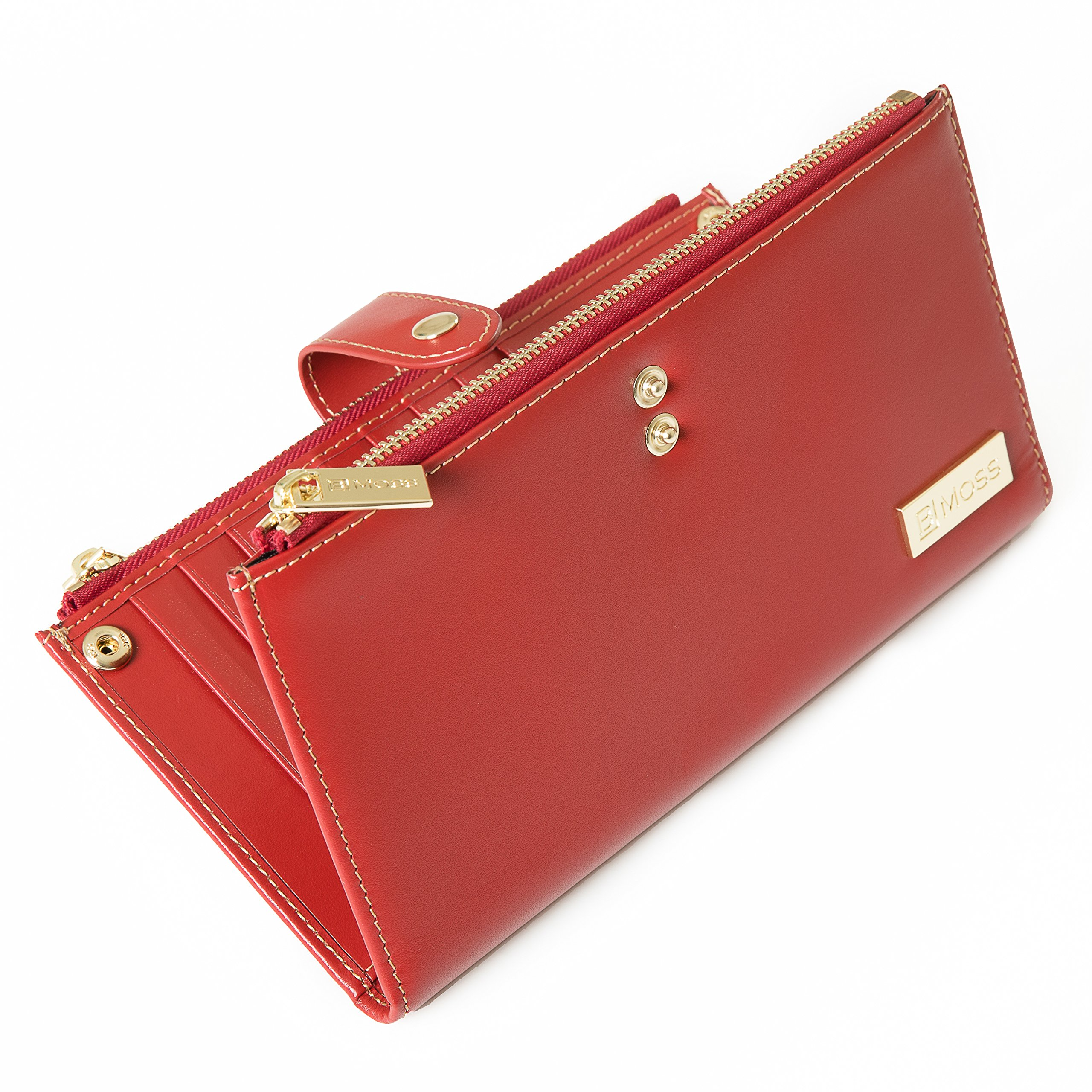 Womens RFID Blocking Wallet & Card Organizer Genuine Leather With 18 Slots + FREE Booklet By BMoss Red