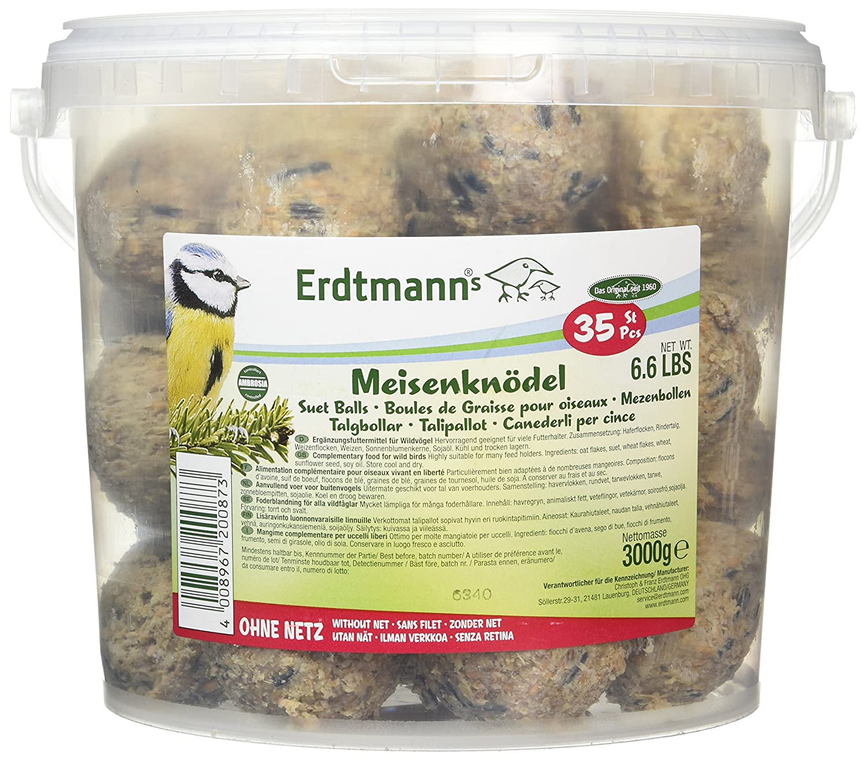 Erdtmanns - Pelotas de Suet sin Red en Tubo, 35 Unidades Christoph & Franz Erdtmann OHG Suet Balls un-netted in Tub