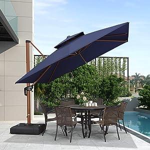 PURPLE LEAF 10ft Patio Umbrella Outdoor Square Umbrella Large Cantilever Umbrella Windproof Offset Umbrella Heavy Duty Sun Umbrella for Garden Deck Pool Patio, Navy Blue