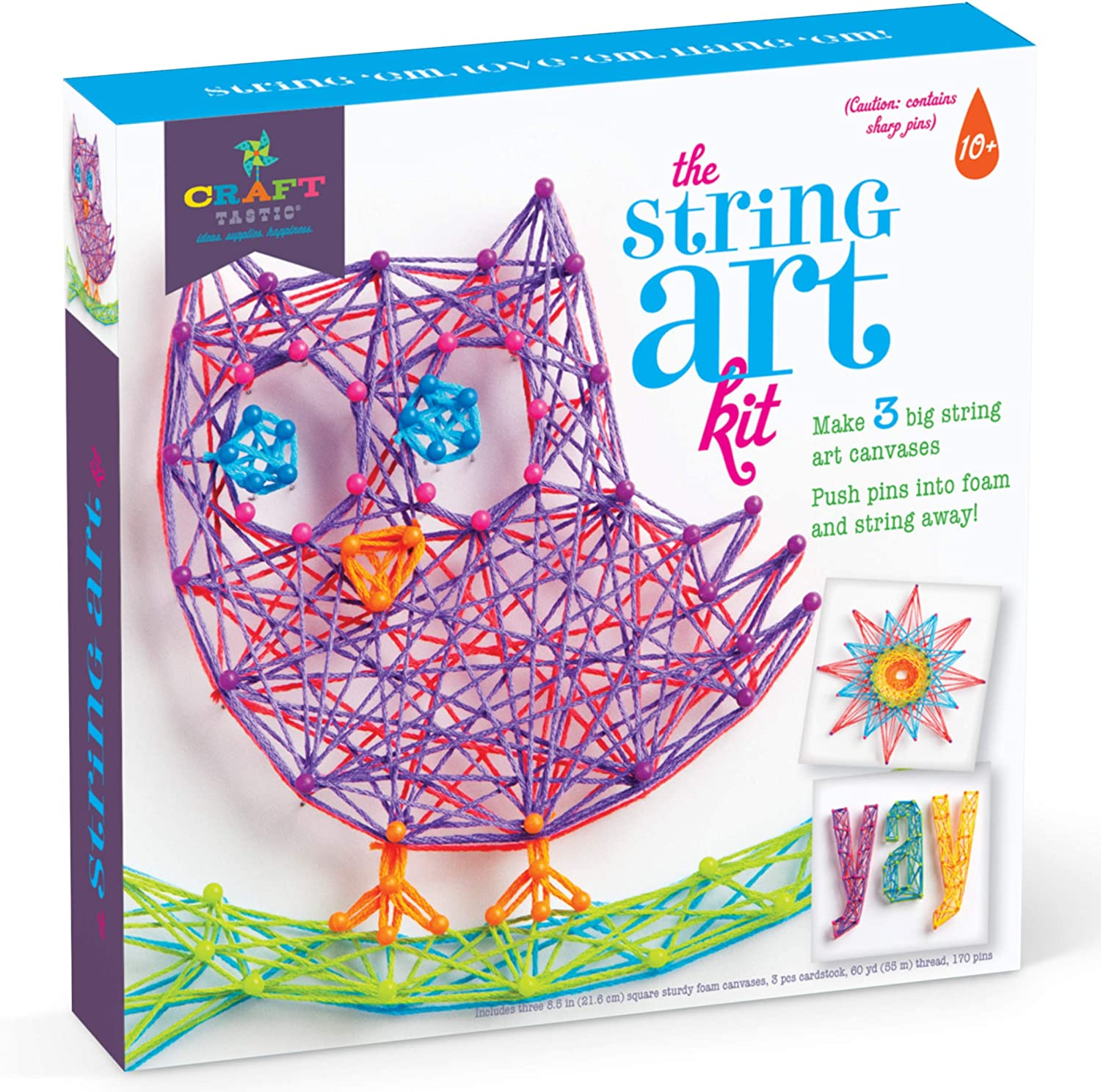 Craft tastic DIY String Art – Craft Kit for Kids – Everything Included for  10 Fun Arts & Crafts Projects – Owl Series