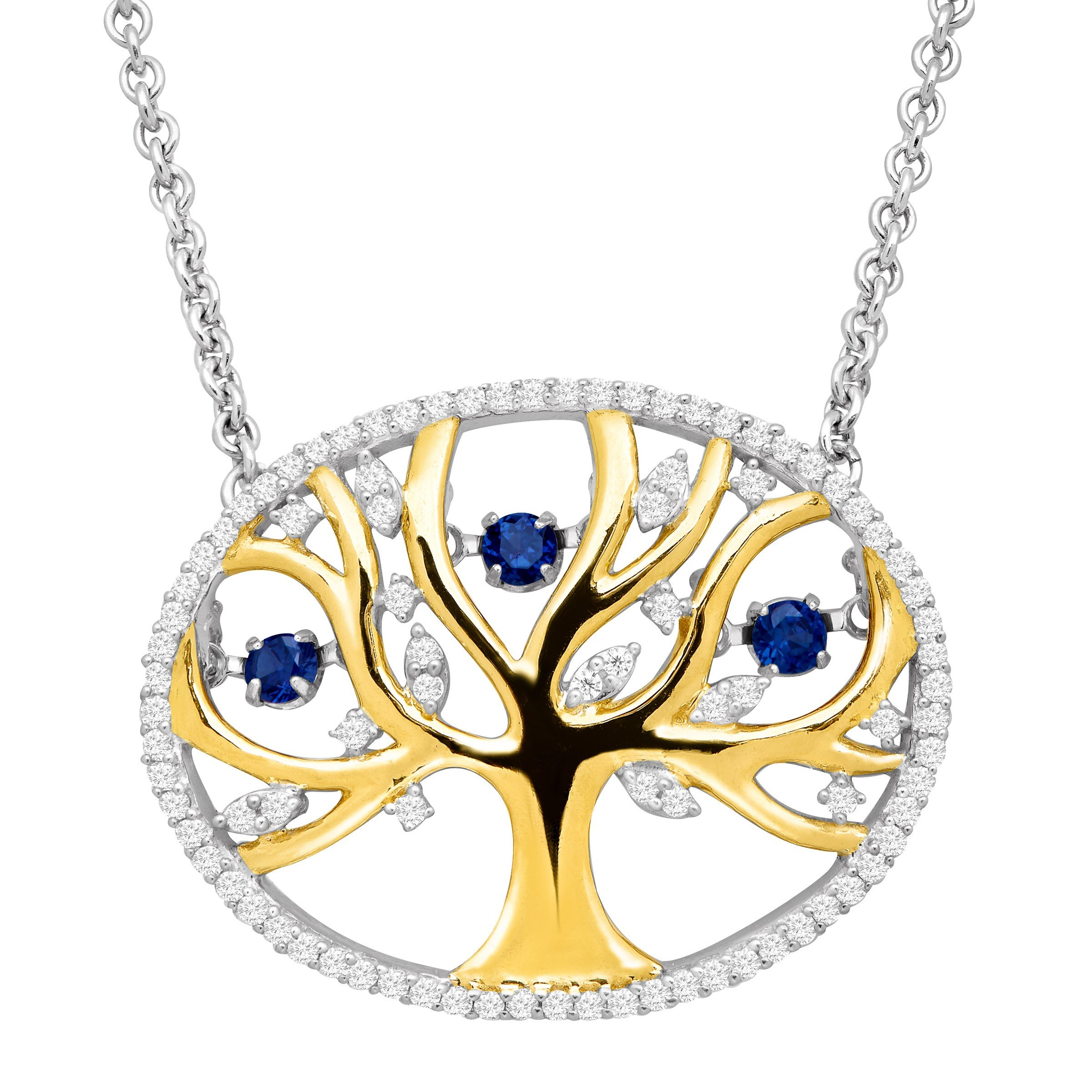 1/3 ct Created Sapphire Tree of Love Floater Necklace with Cubic Zirconia in 14K Gold-Plated Sterling Silver
