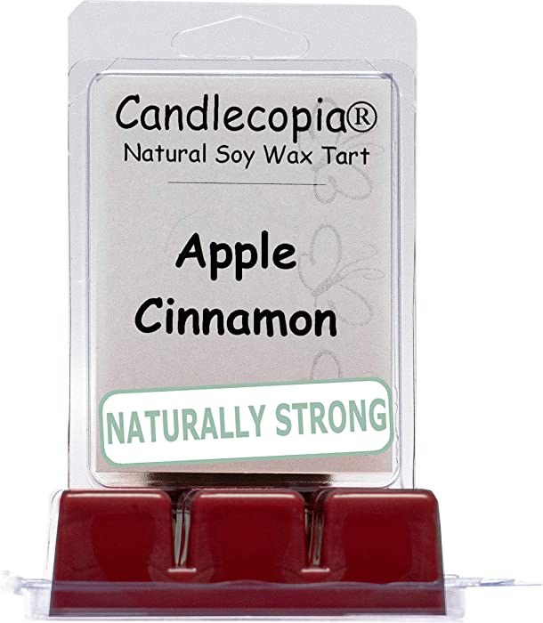 Candlecopia Apple Cinnamon Strongly Scented Hand Poured Vegan Wax Melts, 12 Scented Wax Cubes, 6.4 Ounces in 2 x 6-Packs
