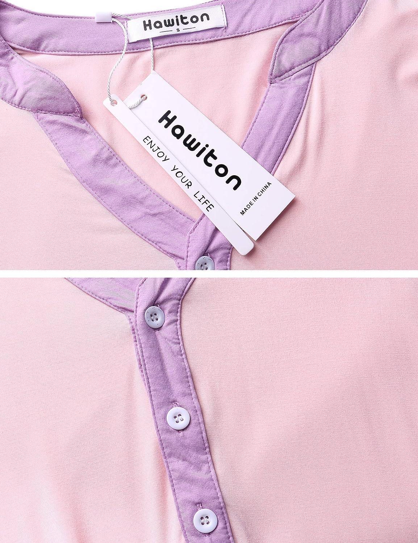 Hawiton Womens Breastfeeding Nightdress Maternity Pyjamas Set Nursing Nightwear Full Length Nightshirt A-line Hospital Dress