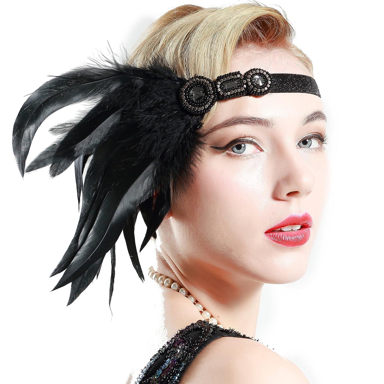 ArtiDeco 1920s Feder Stirnband 20er Jahre Stil Art Deco Flapper Haarband Great Gatsby Stirnband Damen Kostüm Accessoires (Lange Schwarze Feder mit elastischem Band)