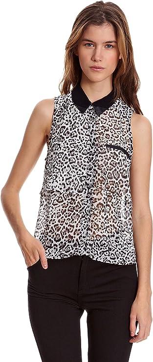 Bershka Blusa S/M Print Leopardo Cuello Contraste Negro L ...