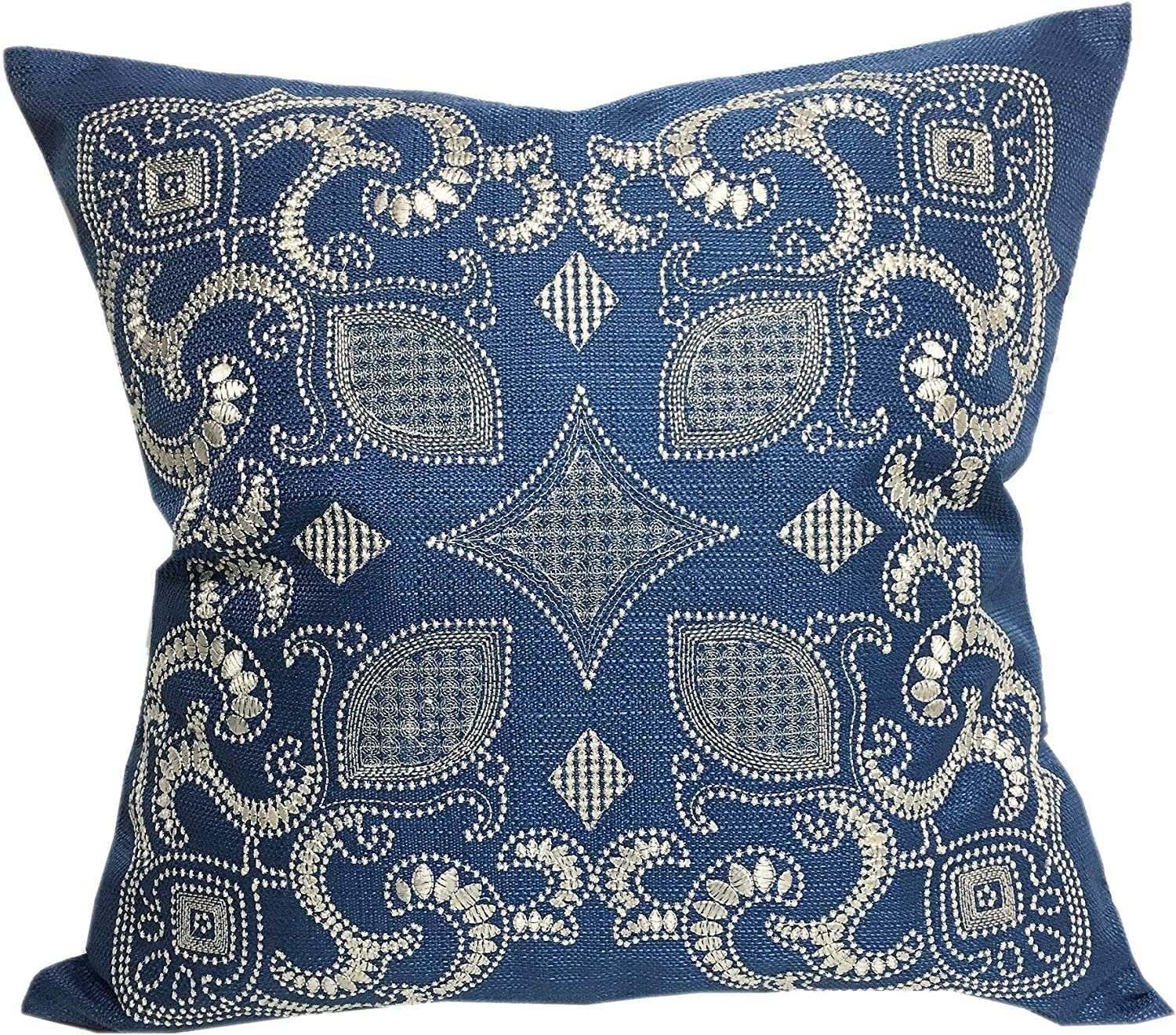 ACCENTHOME Home Accent Pillows Sapphire Blue 20-inch Woven Embroidered Throw Pillow