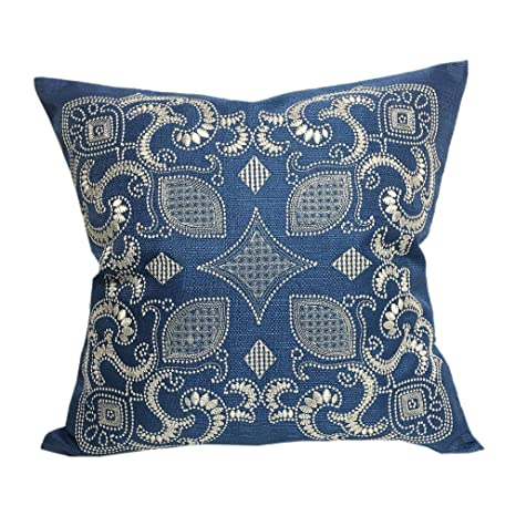 Amazon.com: Home Accent almohadas Zafiro Azul Bordado Throw ...