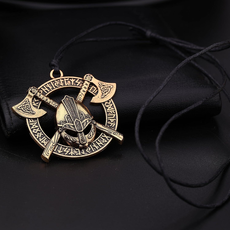 Wicca Norse Viking Talisman runes double axes Irish N/œud casque Motif pendentif Collier