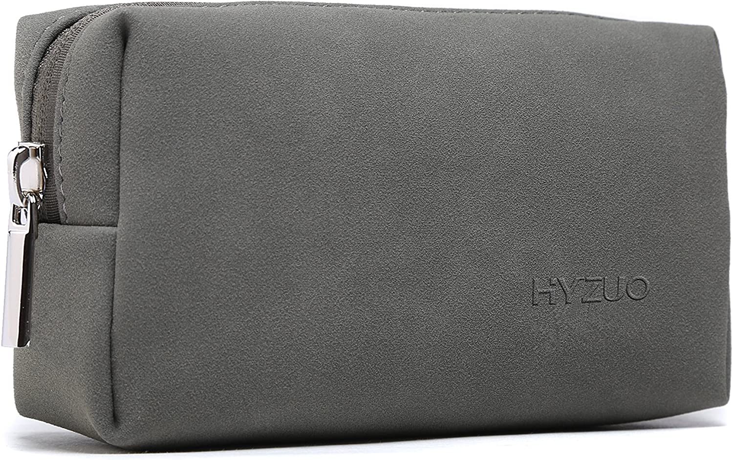 HYZUO Portable Laptop Accessory Pouch Bag Organizer Storage Carrying Case for Laptop Charger Mouse Cables Electronics Cellphone SSD HHD, Matte PU Leather Dark Grey