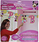 "Disney Minnie Mouse Jumbo Add-An-Age Birthday Party Letter Banner Decoration (1 Piece), Apple Green/Pink, 10 1/2' x 10""."