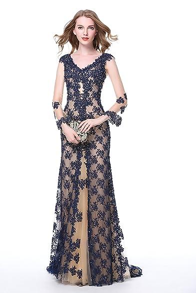 Amazon.com: Luscious Delia Women\'s Prom Dresses Black Side Split ...