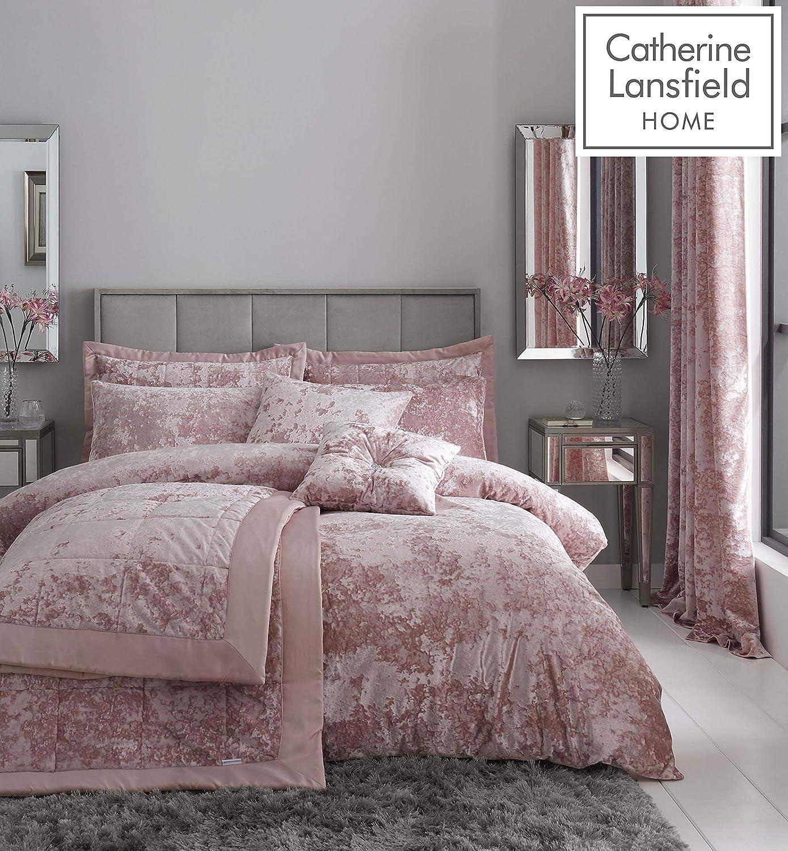 Duvet Bedding Set Catherine Lansfield Crushed Velvet Blush