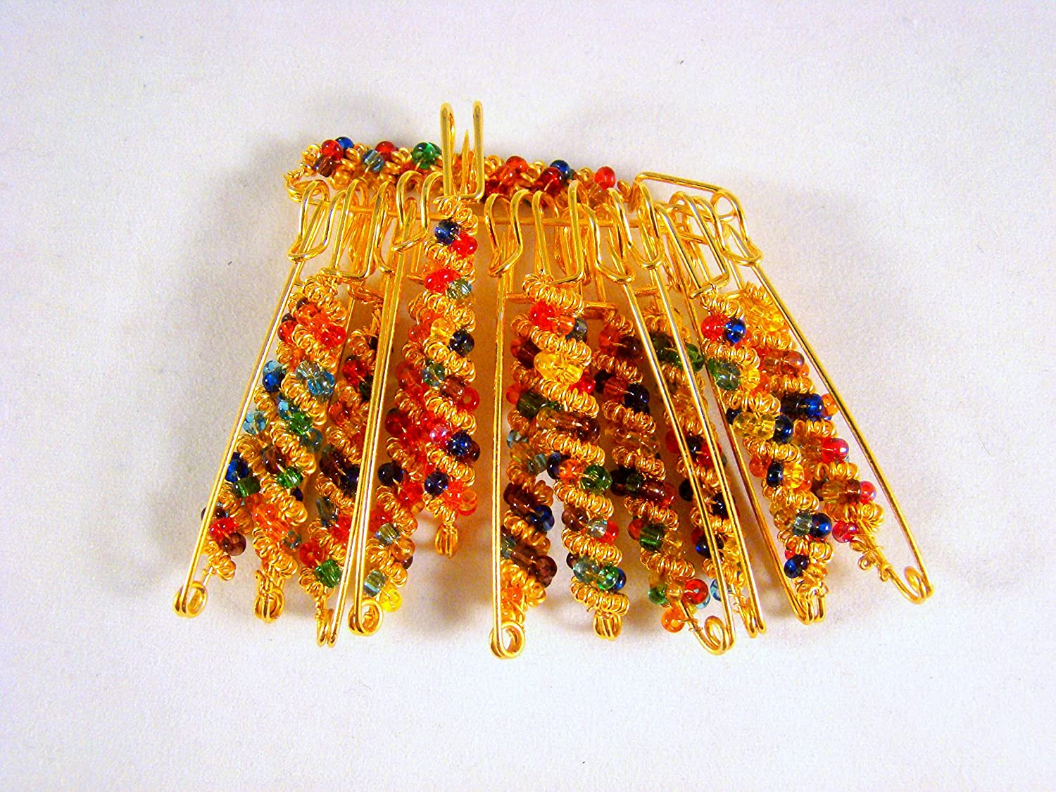 Sarvam Decorative Safety Pins Saree Pins Brooch One Side of Safety Pin Decorated with Multicolor Beads Set of 12