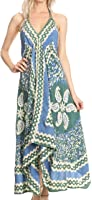 Sakkas Aleayma Strapless Long Adjustable Bead Embroidered Dyed Halter Top Dress