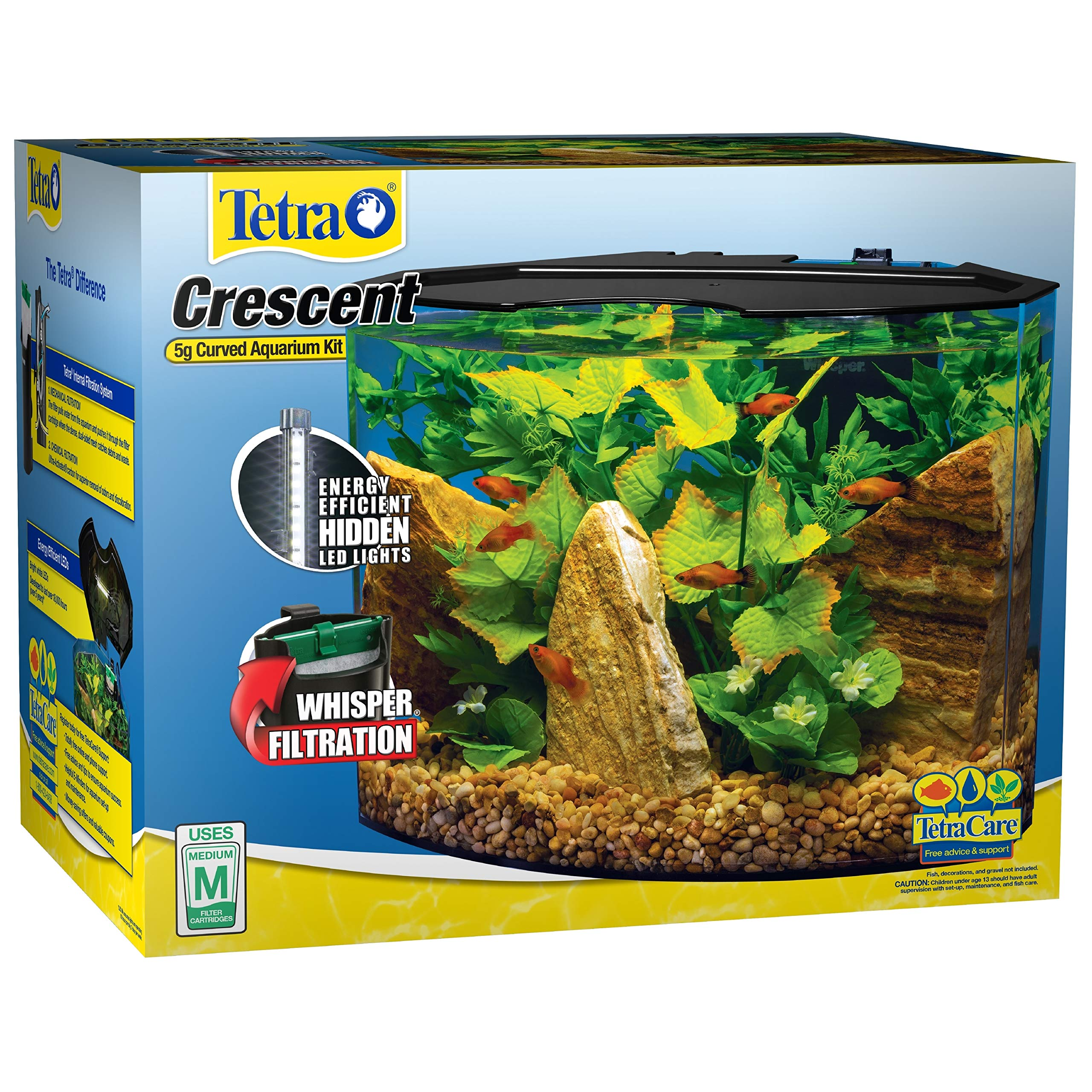 Tetra Crescent Acrylic Aquarium Kit, Energy Efficient LEDs, 5-Gallon by Tetra