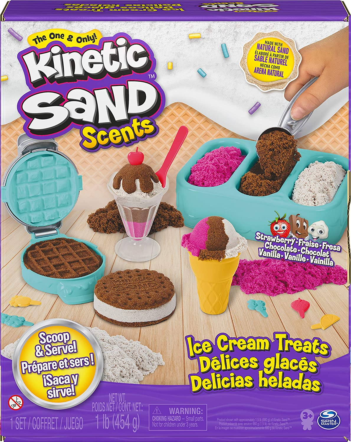 Kinetic Sand Scents, Ice Cream Treats Playset with 3 Colors of All-Natural Scented Play Sand and 6 Serving Tools, Sensory Toys for Kids Ages 3 and up