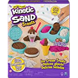 Kinetic Sand Scents, Ice Cream Treats Playset with 3 Colors of All-Natural Scented Play Sand and 6 Serving Tools, Sensory Toy
