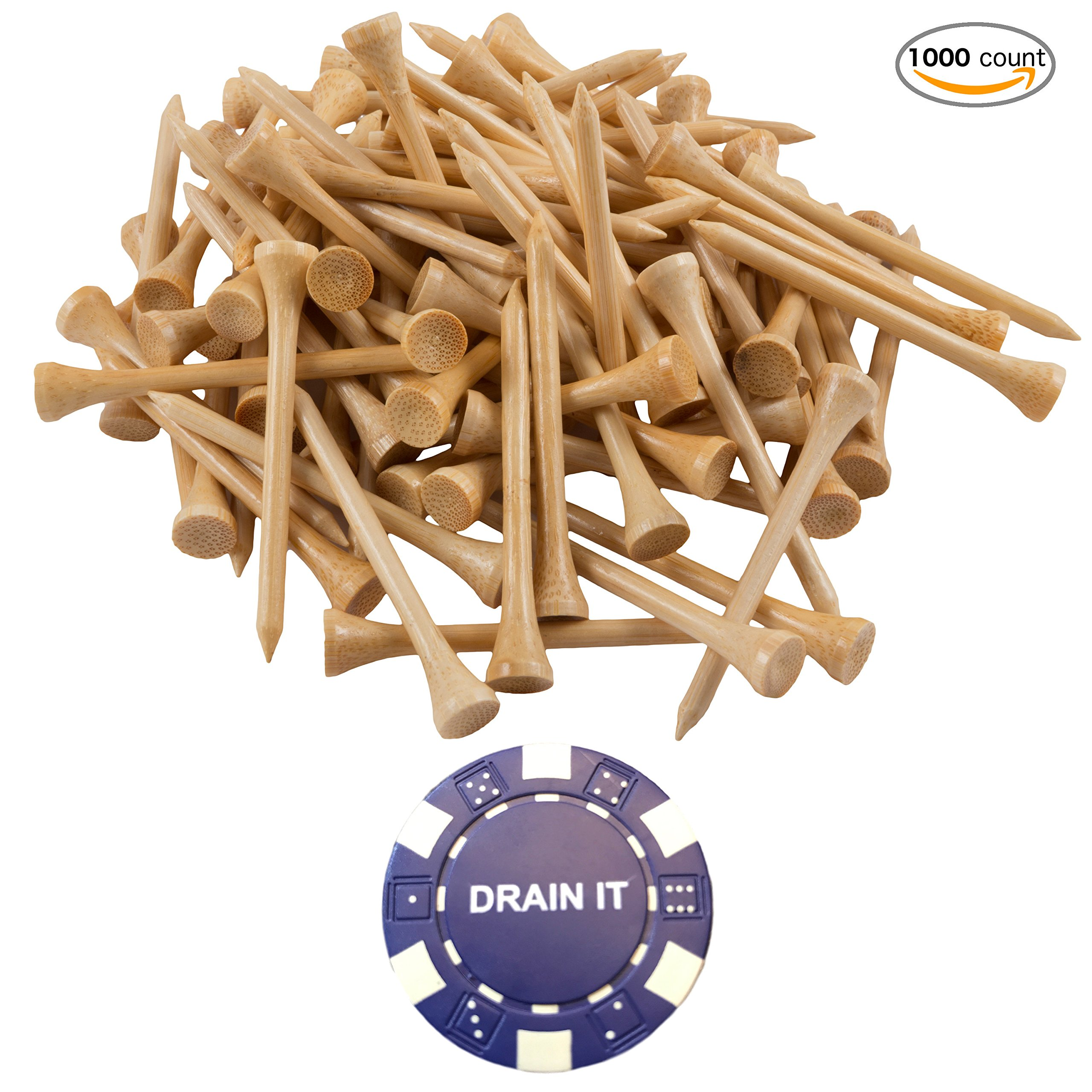 1000 Count Professional Bamboo Golf Tees 2-3/4 inch - Free Poker Chip Ball Marker - Stronger Than Wood Tees Biodegradable & Less Friction PGA Approved