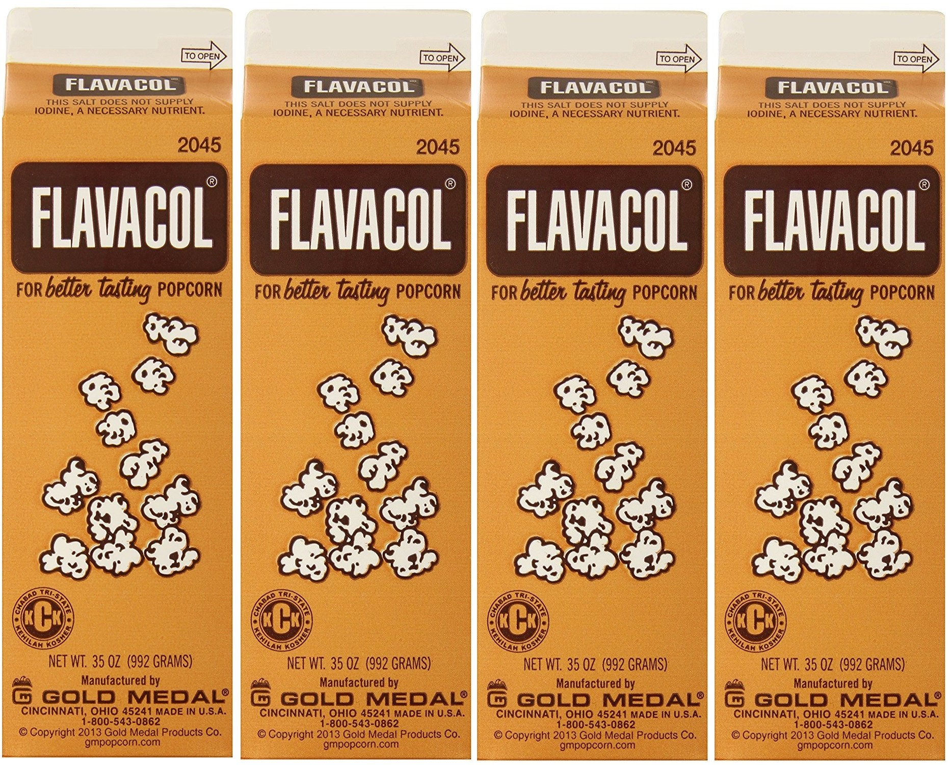 Gold Medal Prod. 2045 Flavacol Seasoning XOaZvo Popcorn Salt 35oz., 4 Pack
