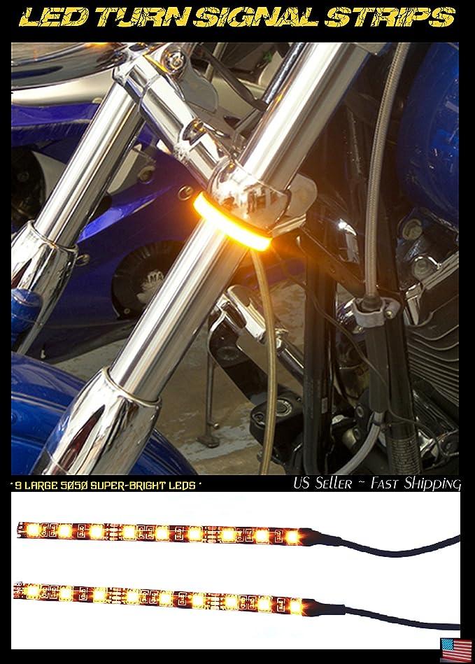 (2) LED Motorcycle Turn Signals 9 LED ~ Flexible Strip Flush Mount Blinkers