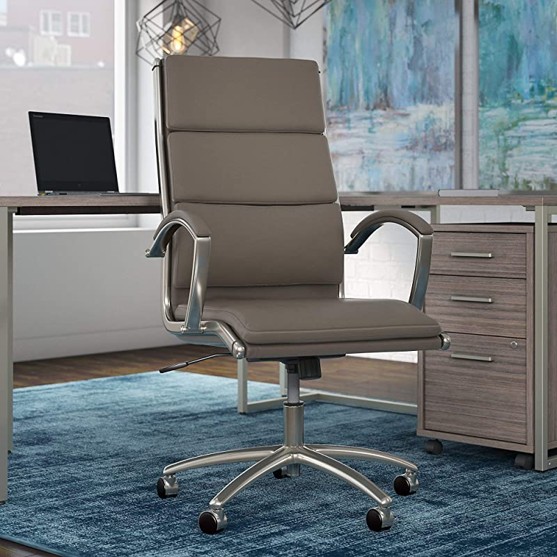 Bush Business Furniture Modelo High Back Executive Office Chair, Single Item, Washed Gray Leather